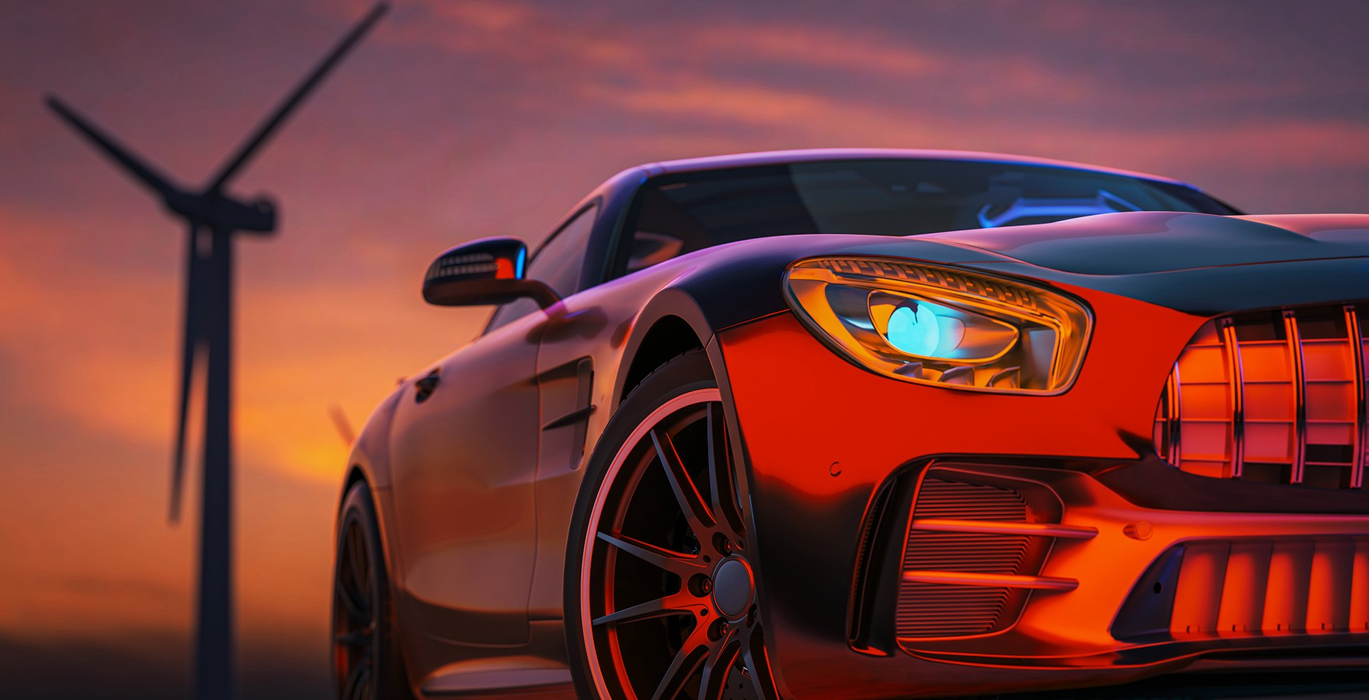 image-front-sports-car-scene-as-sun-going-down-with-wind-turbines-back-3d-render-illustration-2